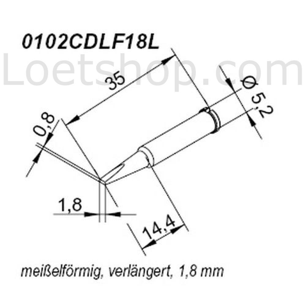 ERSA ERSADUR Lötspitze für i-Tool gerade bleistiftspitz 0,5 mm verlängert